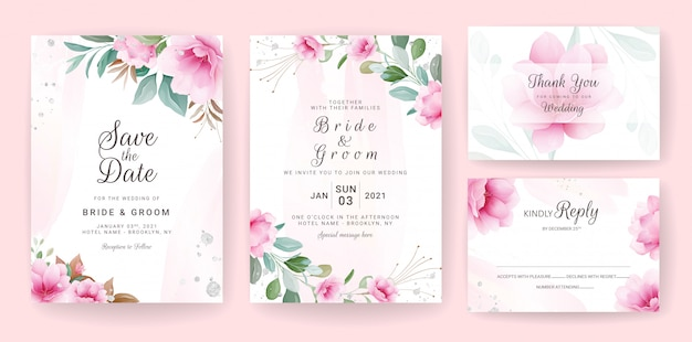 Floral background card. wedding invitation template set with flowers & glitter decoration for save the date, greeting, poster, and cover design