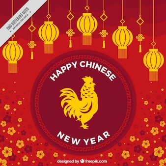 Floral background for chinese new year with lanterns and rooster