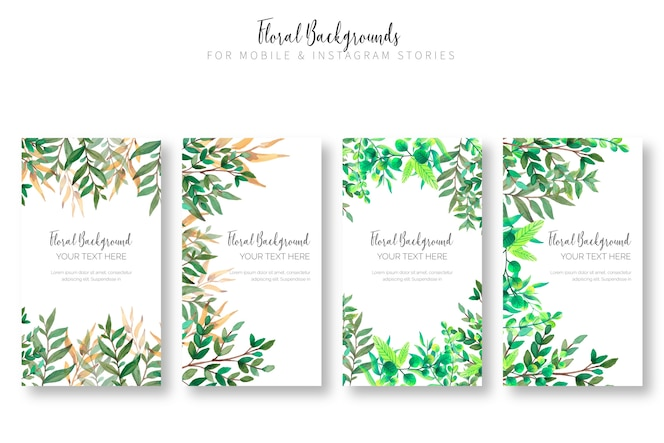 Floral background collection for mobile & instagram stories