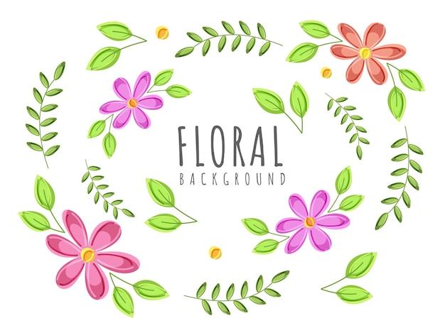花と緑の葉で飾られた花の背景。