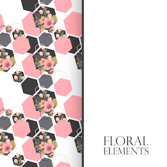 Floral background design with geometric elements