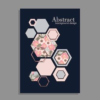 幾何学的要素による花の背景のデザイン