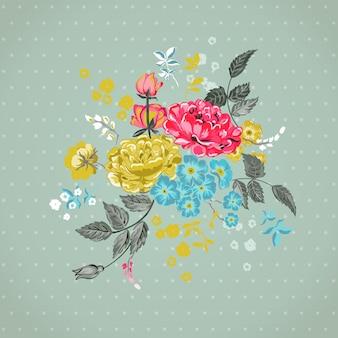 디자인, 벡터 스크랩북 꽃 배경
