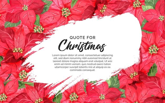 スプラッシュと引用クリスマスの花の背景