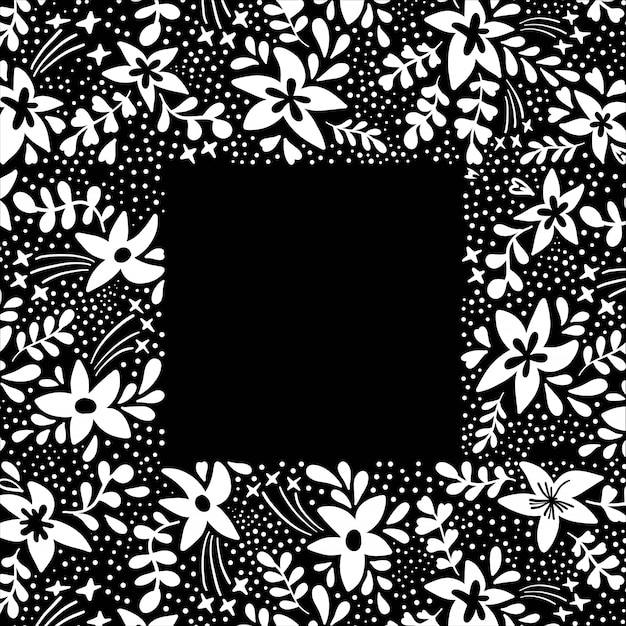 Floral background frame with white flowers on black in flat style.
