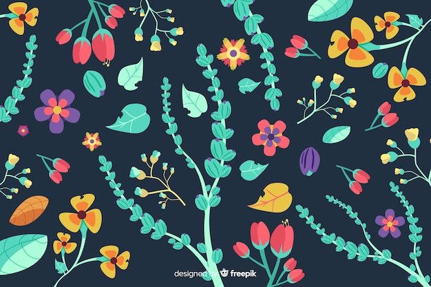 Floral background hand drawn style