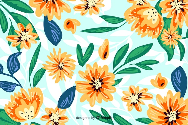 Floral background hand painted