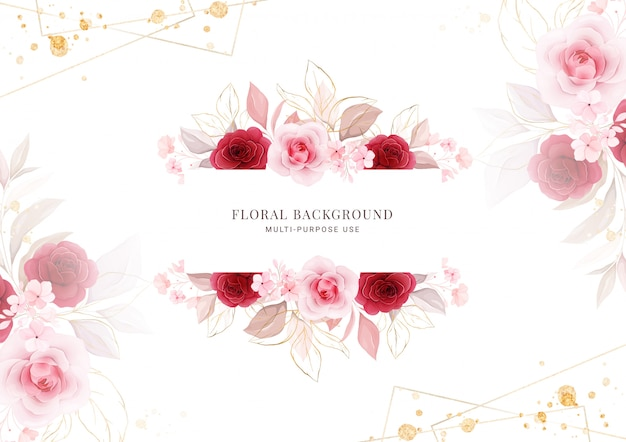 Цветочный фон горизонтальная цветочная рамка.