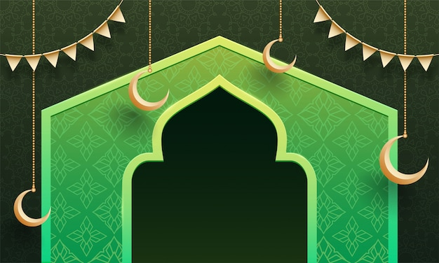 Floral background, illustration of mosque gate and hanging moon