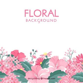 Floral background in flat style