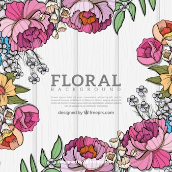Floral background in hand drawn style