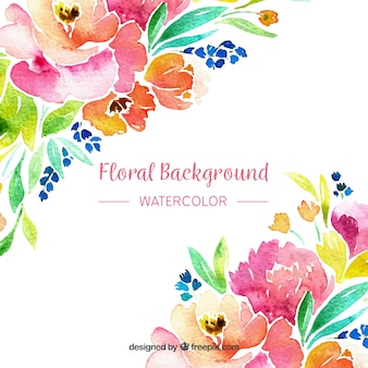 Floral background in watercolor style