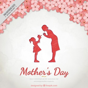 Floral background of mother's day with a lovely scene between mother and daughter