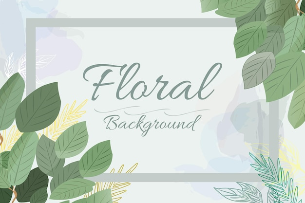 Floral background nature water color leaves