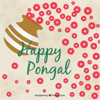 Floral background for pongal in flat design