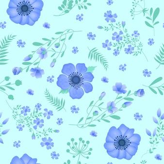 花の背景。シームレスパターン。花と葉ビンテージ花花の要素