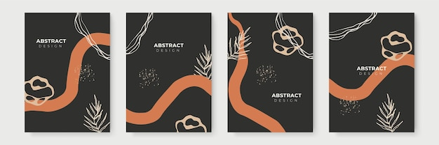 花の背景セット。グリーティングカードやカバープレゼンテーションのデザインテンプレート用のコピースペースを備えた最小限のトレンディなスタイルの抽象的な創造的な背景。アースカラーソーシャルメディアテンプレート