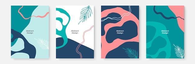 花の背景セット。グリーティングカードやカバープレゼンテーションのデザインテンプレート用のコピースペースを備えた最小限のトレンディなスタイルの抽象的な創造的な背景。ピンクグリーンダークブルーカラーソーシャルメディアテンプレート