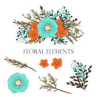 Floral background set