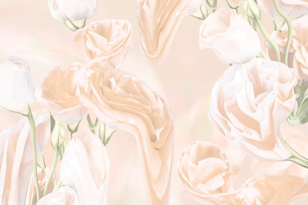 花の背景ベクトル、ベージュのバラのサイケデリックアート