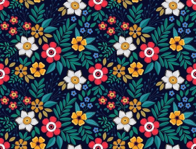 Floral background in vintage style. seamless pattern. decorative embroidery flowers. ornament for textiles on black background. the elegant the template for fashion prints.