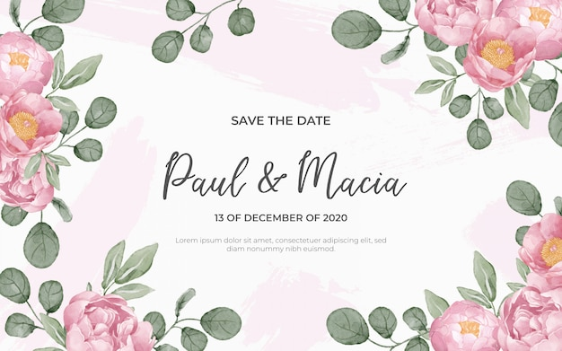 Floral background for wedding in watercolor