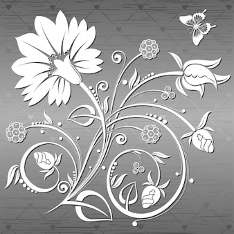 Floral background with butterfly on a metal plate, element for design, vector illustration