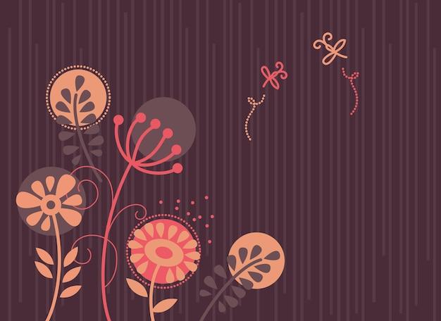 Цветочный фон с мультяшными стрекозами