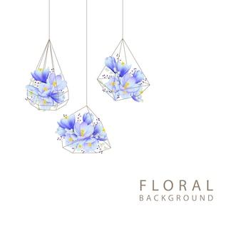 Floral background with crocus flowers in terrarium