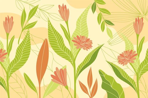 Цветочный фон с разными цветами и листьями