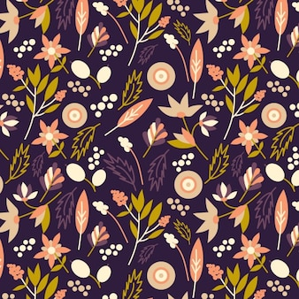 Floral background with different types of flowers