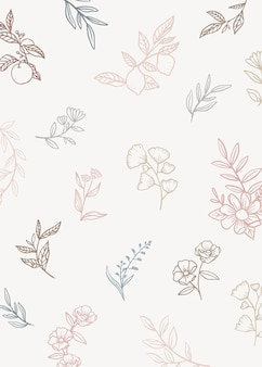 Floral background with doodle plants