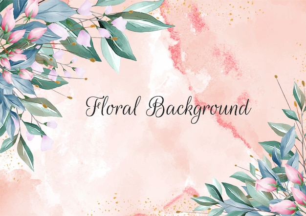 Floral background with elegant creamy watercolor textures and floral border decoration