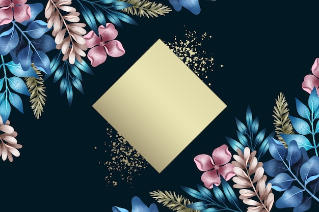 Floral background with empty trapeze badge