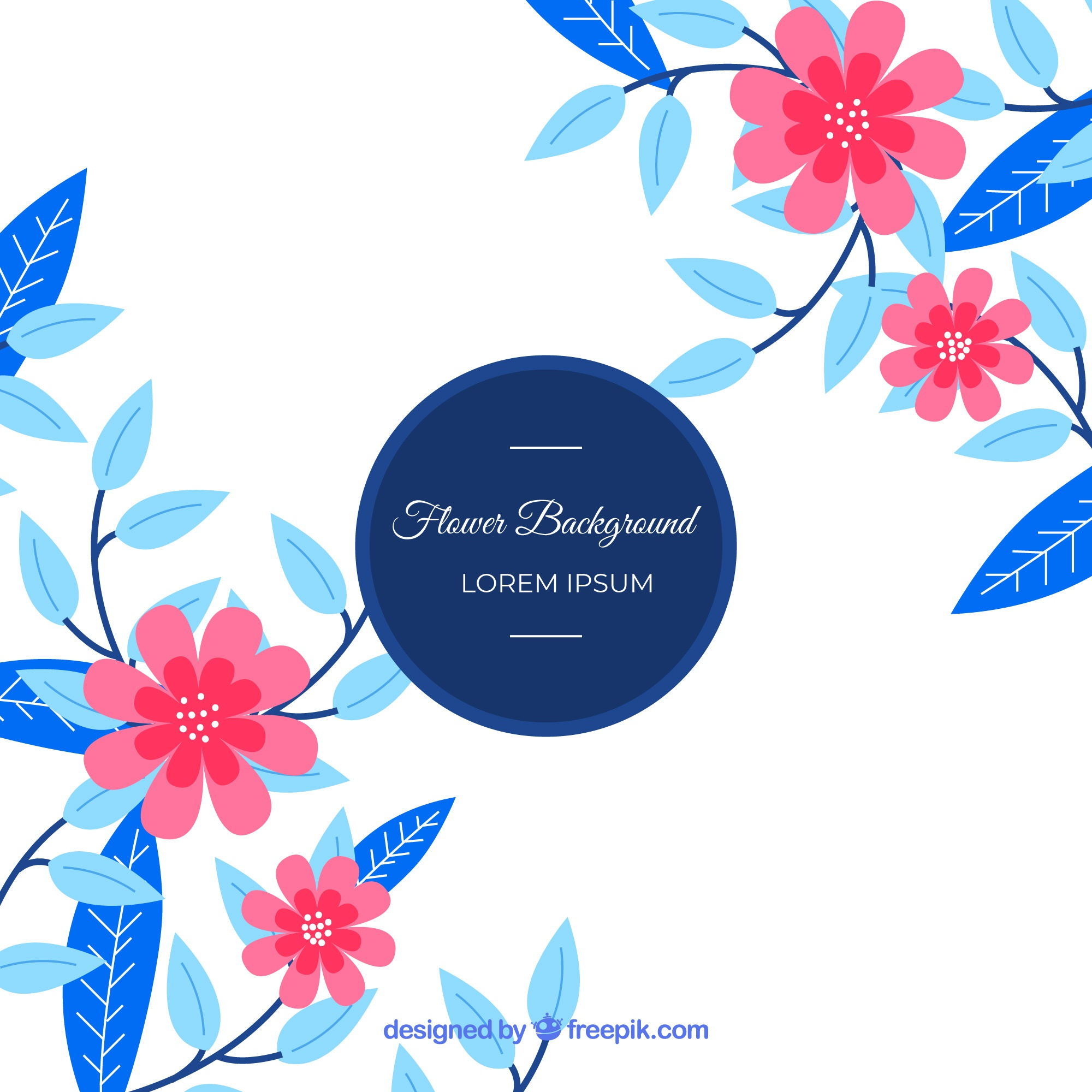Floral background with flat design