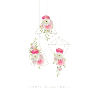 Floral background with floral  pink ranunculus and rose flowers in terrarium