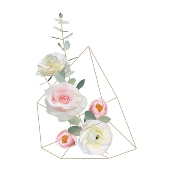 Floral background with floral ranunculus and rose flowers in terrarium