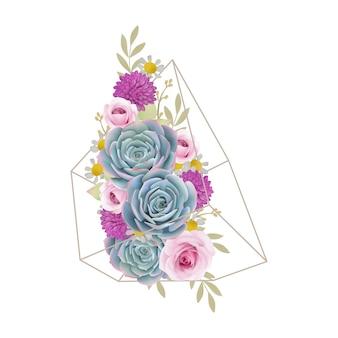 花のバラと多肉植物のテラリウムの花の背景