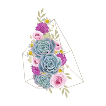 Floral background with floral roses and succulent in terrarium