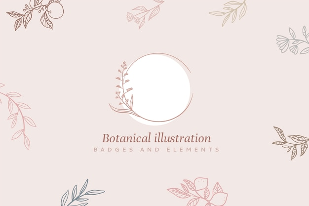 Floral background with frame and botanical illustration