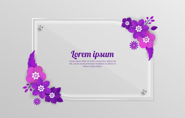 Floral background with glass frame template for shopping events, holiday and greeting, invitation cards