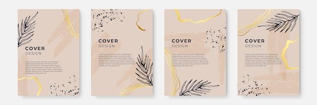 Цветочный фон с золотым декором. абстрактные творческие фоны в минималистичном модном стиле с копией пространства для шаблонов дизайна поздравительных открыток или обложек. шаблон баннера в социальных сетях