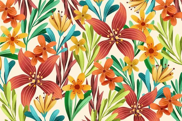 木目テクスチャ効果を持つ花の背景