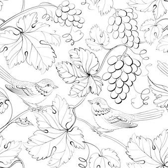 ブドウと花の背景