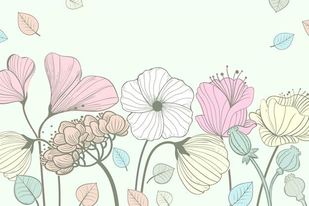 Цветочный фон с рисованной цветами и листьями