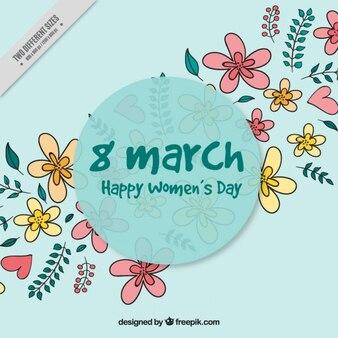 Цветочный фон с рисованной цветы для женского дня