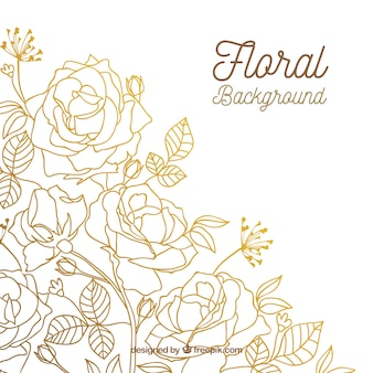 Floral background with hand drawn roses