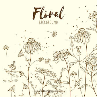 Floral background with hand drawn style