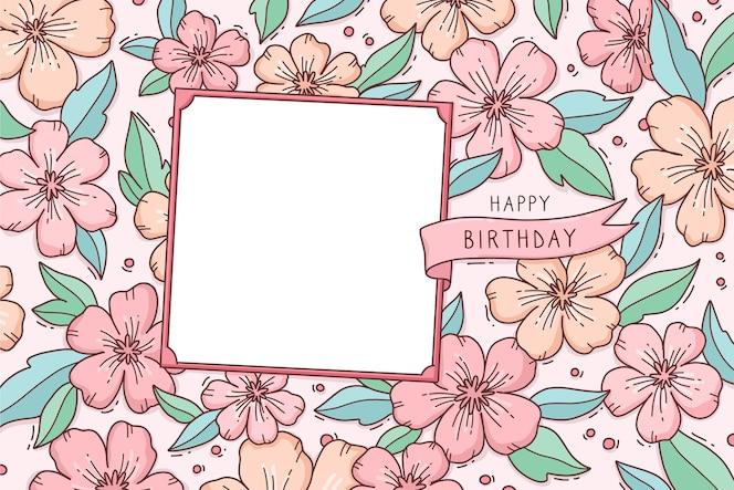 Sfondo floreale con auguri di buon compleanno