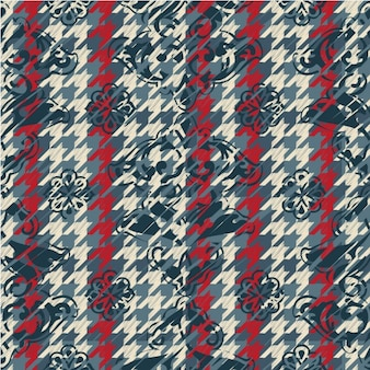 Floral background with houndstooth pattern